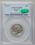 Buffalo Nickels: , 1913-S 5C Type Two XF40 PCGS. CAC. PCGS Population (80/1708). NGCCensus: (41/1089). Mintage: 1,209,000. Numismedia Wsl. Pr...
