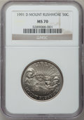 Modern Issues: , 1991-D 50C Mount Rushmore Half Dollar MS70 NGC. NGC Census: (93).PCGS Population (41). Mintage: 172,754. Numismedia Wsl. P...