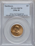 Modern Issues, 1996-W G$5 Smithsonian Gold Five Dollar MS70 PCGS. NGC Census:(348). PCGS Population (74). Mintage: 9,068. Numismedia Wsl....