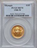 Modern Issues: , 1988-W G$5 Olympic Gold Five Dollar MS70 PCGS. PCGS Population(239). NGC Census: (1185). Mintage: 62,900. Numismedia Wsl. ...