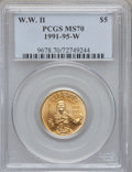 Modern Issues: , 1991-1995W G$5 World War II Gold Five Dollar MS70 PCGS. PCGSPopulation (149). NGC Census: (773). Mintage: 23,089. Numismed...