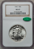 Walking Liberty Half Dollars: , 1941 50C MS67 NGC. CAC. NGC Census: (533/18). PCGS Population(487/15). Mintage: 24,207,412. Numismedia Wsl. Price for prob...