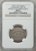 Expositions and Fairs, 1893 World's Columbian Exposition, Elongated 1891 Nickel, MS62 NGC. Eglit-372....