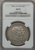 Commemorative Silver: , 1900 $1 Lafayette Dollar AU55 NGC. NGC Census: (37/2322). PCGSPopulation (157/2935). Mintage: 36,026. Numismedia Wsl. Pric...