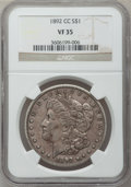Morgan Dollars: , 1892-CC $1 VF35 NGC. NGC Census: (33/4402). PCGS Population(93/7274). Mintage: 1,352,000. Numismedia Wsl. Price for proble...