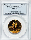 Modern Issues: , 1984-W G$10 Olympic Gold Ten Dollar PR70 Deep Cameo PCGS. PCGSPopulation (209). NGC Census: (852). Mintage: 381,085. Numis...