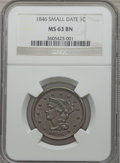 Large Cents: , 1846 1C Small Date MS63 Brown NGC. NGC Census: (53/108). PCGSPopulation (35/28). Mintage: 4,120,800. Numismedia Wsl. Price...