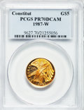 Modern Issues: , 1987-W G$5 Constitution Gold Five Dollar PR70 Deep Cameo PCGS. PCGSPopulation (1860). NGC Census: (8171). Mintage: 651,659...