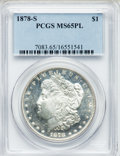 Morgan Dollars: , 1878-S $1 MS65 Prooflike PCGS. PCGS Population (125/11). NGCCensus: (194/24). Numismedia Wsl. Price for problem free NGC/...