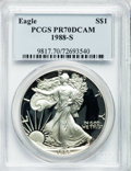 Modern Bullion Coins: , 1988-S $1 Silver Eagle PR70 Deep Cameo PCGS. PCGS Population (402).NGC Census: (595). Mintage: 557,370. Numismedia Wsl. Pr...