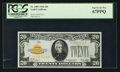 Small Size:Gold Certificates, Fr. 2402 $20 1928 Gold Certificate. PCGS Superb Gem New 67PPQ.. ...
