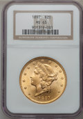 Liberty Double Eagles: , 1897 $20 MS63 NGC. NGC Census: (2550/321). PCGS Population(1372/204). Mintage: 1,383,261. Numismedia Wsl. Price for proble...
