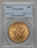Liberty Double Eagles: , 1896-S $20 MS63 PCGS. PCGS Population (1022/155). NGC Census:(772/123). Mintage: 1,403,925. Numismedia Wsl. Price for prob...