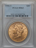 Liberty Double Eagles: , 1906-S $20 MS63 PCGS. PCGS Population (1091/267). NGC Census:(636/112). Mintage: 2,065,750. Numismedia Wsl. Price for prob...