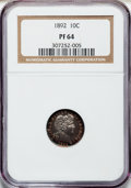 Proof Barber Dimes: , 1892 10C PR64 NGC. NGC Census: (70/109). PCGS Population (69/94).Mintage: 1,245. Numismedia Wsl. Price for problem free NG...