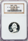 Proof Washington Quarters: , 1963 25C PR69 Ultra Cameo NGC. NGC Census: (119/0). PCGS Population(113/0). Numismedia Wsl. Price for problem free NGC/PC...
