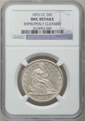 Seated Half Dollars: , 1876-CC 50C -- Improperly Cleaned -- NGC Details. Unc. NGC Census:(0/78). PCGS Population (6/77). Mintage: 1,956,000. Numi...