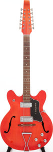 Musical Instruments:Electric Guitars, Circa 1968 Baldwin Red 12-String Semi-Hollow Body Electric Guitar, Serial # 1306....