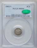 Three Cent Silver: , 1862/1 3CS MS64 PCGS. CAC. PCGS Population (82/167). NGC Census:(78/134). Mintage: 343,000. Numismedia Wsl. Price for prob...