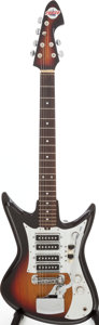 Musical Instruments:Electric Guitars, Late 1960s Teisco Del Rey 4 Pickup Sunburst Solid Body ElectricGuitar. ...