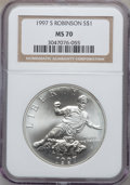 Modern Issues: , 1997-S $1 Jackie Robinson Silver Dollar MS70 NGC. NGC Census:(116). PCGS Population (56). Mintage: 30,007. Numismedia Wsl....