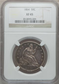 Seated Half Dollars: , 1864 50C XF45 NGC. NGC Census: (2/80). PCGS Population (11/72).Mintage: 379,100. Numismedia Wsl. Price for problem free NG...