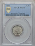 Three Cent Nickels: , 1866 3CN MS64 PCGS Secure. PCGS Population (198/95). NGC Census:(211/121). Mintage: 4,801,000. Numismedia Wsl. Price for p...