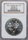 Modern Issues: , 1994-D $1 World Cup Silver Dollar MS70 NGC. NGC Census: (66). PCGSPopulation (42). Mintage: 81,698. Numismedia Wsl. Price ...