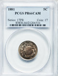 Proof Shield Nickels: , 1881 5C PR66 Cameo PCGS. PCGS Population (57/13). NGC Census:(56/29). ...