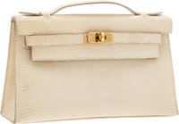 Hermes Parchment Lizard Kelly Pochette Bag with Gold Hardware