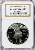 Modern Issues: , 1992-P $1 Columbus Silver Dollar PR70 Ultra Cameo NGC. NGC Census:(38). PCGS Population (42). Mintage: 385,241. Numismedia...