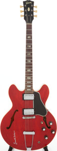 Musical Instruments:Electric Guitars, 1966 Gibson ES-335 Cherry Semi-Hollow Body Electric Guitar Signedby Lowell Fulson, Serial # 856890....