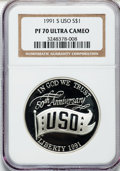 Modern Issues: , 1991-S $1 USO Silver Dollar PR70 Ultra Cameo NGC. NGC Census: (41).PCGS Population (52). Mintage: 321,275. Numismedia Wsl....