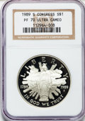Modern Issues: , 1989-S $1 Congress Silver Dollar PR70 Ultra Cameo NGC. NGC Census:(62). PCGS Population (59). Mintage: 762,198. Numismedia...