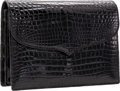 Luxury Accessories:Bags, Lana Marks Shiny Black Crocodile Clutch Bag with Shoulder Strap....