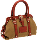 Luxury Accessories:Bags, Louis Vuitton Rust Ostrich & Toile Trianon Canvas Sac de NuitMM Bag. ...
