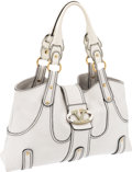 Luxury Accessories:Bags, Valentino Classic White Leather Large Tote Bag with Turquoise &Crystal Clasp. ...