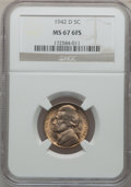 Jefferson Nickels, 1942-D 5C MS67 Full Steps NGC. NGC Census: (15/0). PCGS Population(0/0). ...