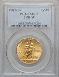Modern Issues: , 1984-W G$10 Olympic Gold Ten Dollar MS70 PCGS. PCGS Population (118). NGC Census: (435). Mintage: 75,800. Numismedia Wsl. P...