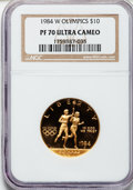 Modern Issues: , 1984-W G$10 Olympic Gold Ten Dollar PR70 Ultra Cameo NGC. NGCCensus: (852). PCGS Population (209). Mintage: 381,085. Numis...