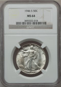 "Walking Liberty Half Dollars, (3)1946-S 50C MS64 NGC. The current Coin Dealer Newsletter(Greysheet) wholesale ""bid"" price is $65.00.... (Total: 3 coins)"