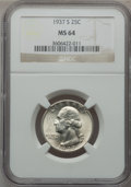 Washington Quarters: , 1937-S 25C MS64 NGC. NGC Census: (337/489). PCGS Population(804/748). Mintage: 1,652,000. Numismedia Wsl. Price for proble...