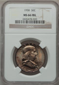 Franklin Half Dollars: , 1958 50C MS66 Full Bell Lines NGC. NGC Census: (103/3). PCGSPopulation (323/9). Numismedia Wsl. Price for problem free NG...