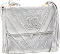 Luxury Accessories:Bags, Chanel Metallic Silver Chevron Quilted Mini Evening Bag. ...