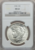 Peace Dollars: , 1928 $1 MS62 NGC. NGC Census: (1284/2386). PCGS Population(1460/4120). Mintage: 360,649. Numismedia Wsl. Price for problem...