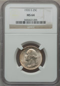 Washington Quarters: , 1935-S 25C MS64 NGC. NGC Census: (334/433). PCGS Population(683/711). Mintage: 5,660,000. Numismedia Wsl. Price for proble...