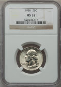 Washington Quarters: , 1938 25C MS65 NGC. NGC Census: (308/278). PCGS Population(485/281). Mintage: 9,480,045. Numismedia Wsl. Price for problem...