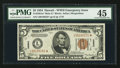 Small Size:World War II Emergency Notes, Fr. 2301* $5 1934 Hawaii Mule Federal Reserve Note. PMG ChoiceExtremely Fine 45.. ...