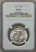 Walking Liberty Half Dollars: , 1941-D 50C MS64 NGC. NGC Census: (1273/3488). PCGS Population(2257/5409). Mintage: 11,248,400. Numismedia Wsl. Price for p...
