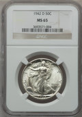 Walking Liberty Half Dollars: , 1942-D 50C MS65 NGC. NGC Census: (1541/1008). PCGS Population(2784/1251). Mintage: 10,973,800. Numismedia Wsl. Price for p...